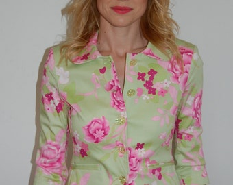 S Pink Floral Printed Lime Green Easter Blazer by Rampage Size Small
