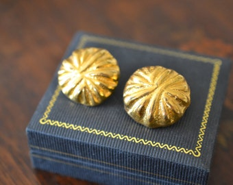 18k Yellow Gold Plated Button Earrings, Bold Gold Earrings, Big Gold Earrings, Gold Button Earrings, Gold Clip On Earrings
