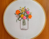 Hand Embroidered Mason Jar Floral Hoop Home Decor