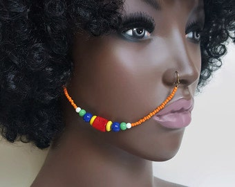 Maasai Inspired Nose Chain, Beaded Nose Chain, Nose Chain, African Nose Chain, Maasai Jewelry, Ear To Nose Chain, Statement Jewelry