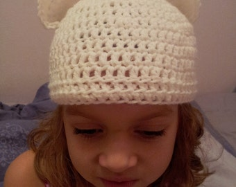 Polar Bear Crochet Hat, Bear Ears Hat