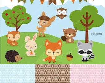 Woodland clipart, Forest Animal clipart, Baby Animal clipart, Animals, deer, bunny, owl, squirrel, forest, Commercial License Included