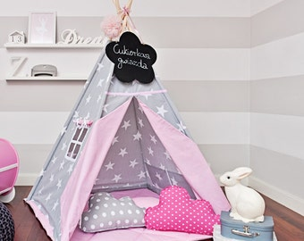 Teepee set with floor mat and pillows – Candy Star