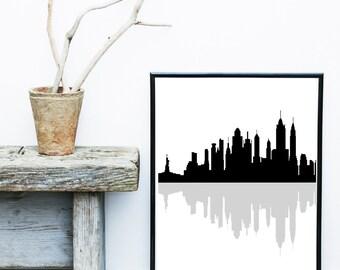 New York Skyline, Black And White Print, New York Print, Abstract Art Print, Scandinavian Design, Giclee print,  Wall Art,  Large Print,