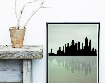 New York Print, New York Skyline, Abstract Art Print, Manhattan Skyline, cityscape, Giclee print, Large Wall Art, Wall Decor