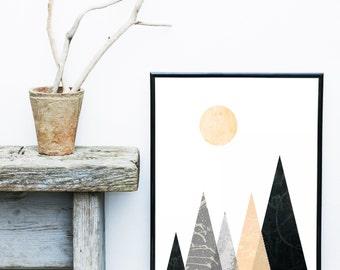 Mountain Art Print, Geometric Art Print, Triangles print, Abstract Art Print, Scandinavian Art,  Wall Art,  Poster, Wall Decor