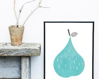 Pear Print, Scandinavian Art, Nursery Art,  Abstract Art Print,  Giclee print, Modern Wall Art, Large Wall art, Kitchen Art