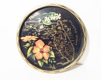 Vintage Florida Tray, Florida vintage souvenir, Vintage Vacation, Florida State