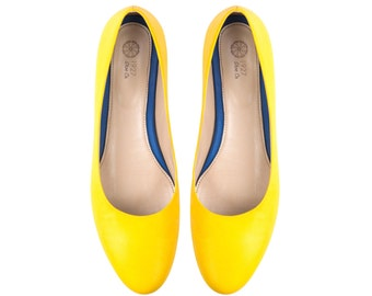 Womens shoes - Yellow Shoes Yellow Flats shoes Women shoes Leather shoes Flat shoes Women dress shoes Zapatos de Mujer Cuero Ballerina Rio