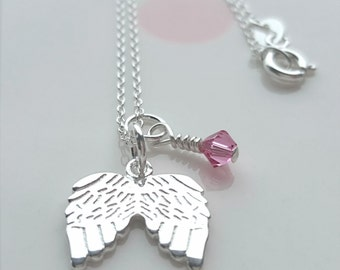 Angel Necklace, Angel Wings Necklace, Sterling Silver Angel Necklace, Angel Charm, Gift For Her, Alexia Jewellery