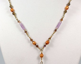 Natural amethyst crystal pendant with pearls