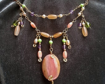 Springtime necklace with opal, coral and amethyst