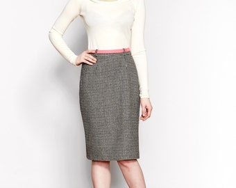 Houndstooth Wool Pencil Skirt / Nara Skirt