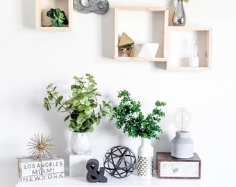 Square - Wood Shelf TRIO [Sm. Med. Large]