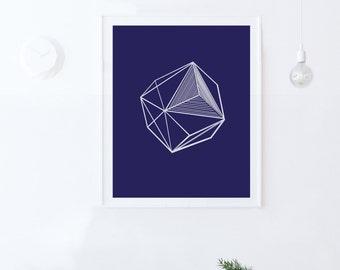 Boy Nursery-Navy Blue Print-Geometric Decor-Blue Wall Art-Printable Art-INSTANT DOWNLOAD-Blue Nursery Art-Kids Room Decor-Blue Wall Print-