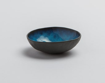 Hand made black Porcelain Pinch Pot with turquoise interior