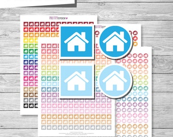 House Stickers, House Planner Stickers, Printable House Stickers, Home Planner Stickers, Printable House Icons, Home Icons Stickers - PS22