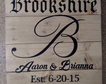 Established Personalized Wood Sign Calligraphy Initial
