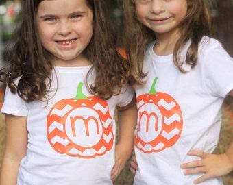 Custom Initial Chevron Pumpkin Shirt for Boys & Girls