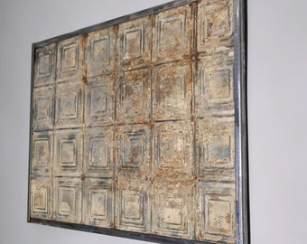 Wall art-wall sculpture-antique tin ceiling tile-vintage salvage-shabby chic-Architectural salvage