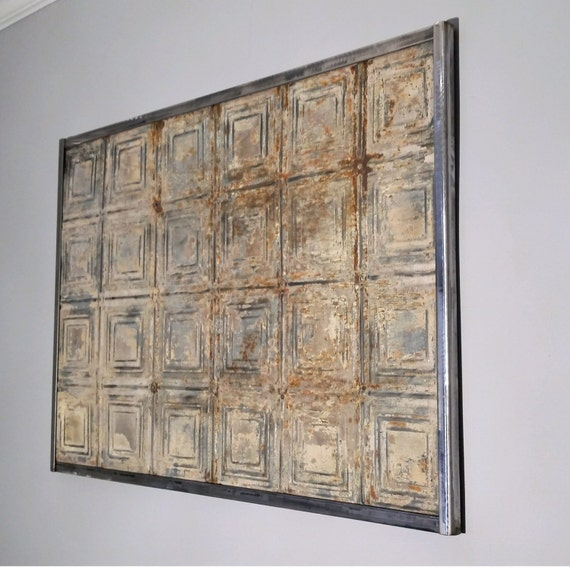 Tin Wall Decor Vintage : Wall art sculpture antique tin ceiling tile vintage
