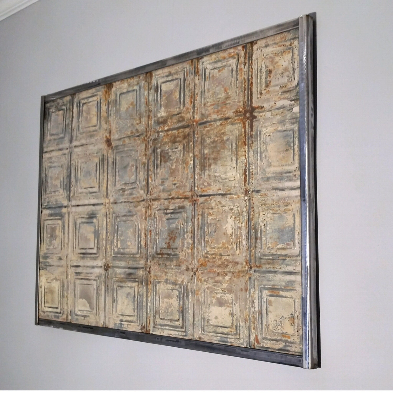 Wall Art Wall Sculpture Antique Tin Ceiling Tile Vintage