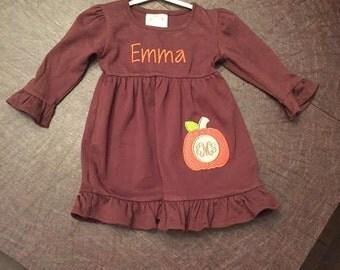 Fall Dress/Personalized Pumpkin Dress/Pumpkin Applique Dress/Monogrammed Dress/Sewthern Creations