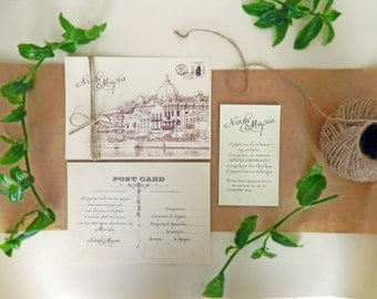 Vintage Postcard Wedding Invitation, RSVP Card & Wedding Reception Card, Destination Wedding Invitation, Greek wedding