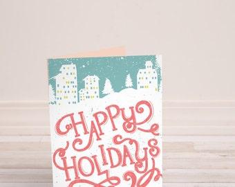 Christmas Cards Printable, Holiday Card, Modern Holiday Card, Happy Holidays Card, Printable Christmas Cards, DIY Card 5x7 Digital file