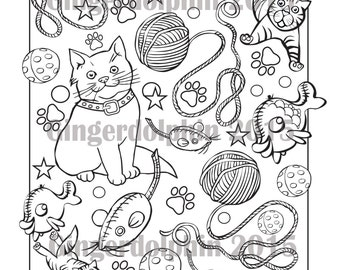 Cat-doodle - a colouring page