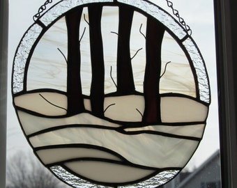 winter trees, silent woods, snow, winter  glass, round,  nature, HappyGlass06, sun catcher, ready to ship