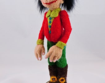 Ronnie Woods' look a like , Decorative Needle Felted, Home Décor, Collectable Felted Figures