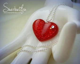 Red heart necklace, Valentines necklace, womens jewellery, resin necklace, sparkly heart necklace, ladies gift, handmade jewellery