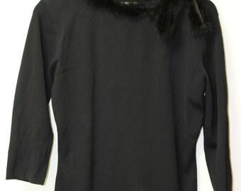Black Fur Trimmed Sweater