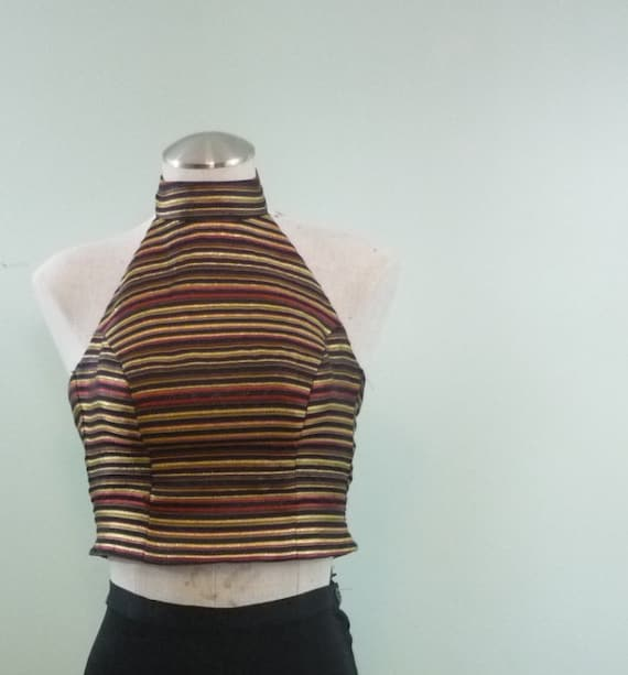 SALE! / 1990s Black, Gold, and Red Satin Brocade Halter / Striped Cropped Shirt / Low Back / Modern XXS-XS