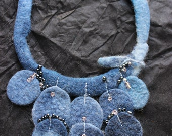 Textile Necklace Textile Jewelry Wool Felt Blue  Denim colour