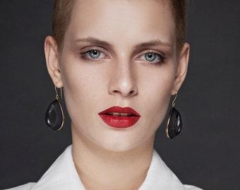Drop earrings, Black earrings, Dangle earrings, Fabric earrings