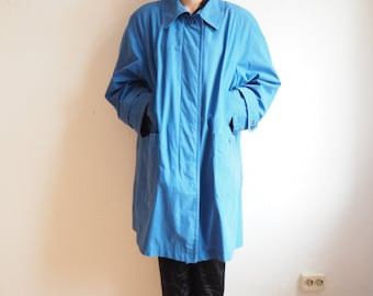 90s lightweight autumn/spring jacket, light blue with shoulder pads / size extra large