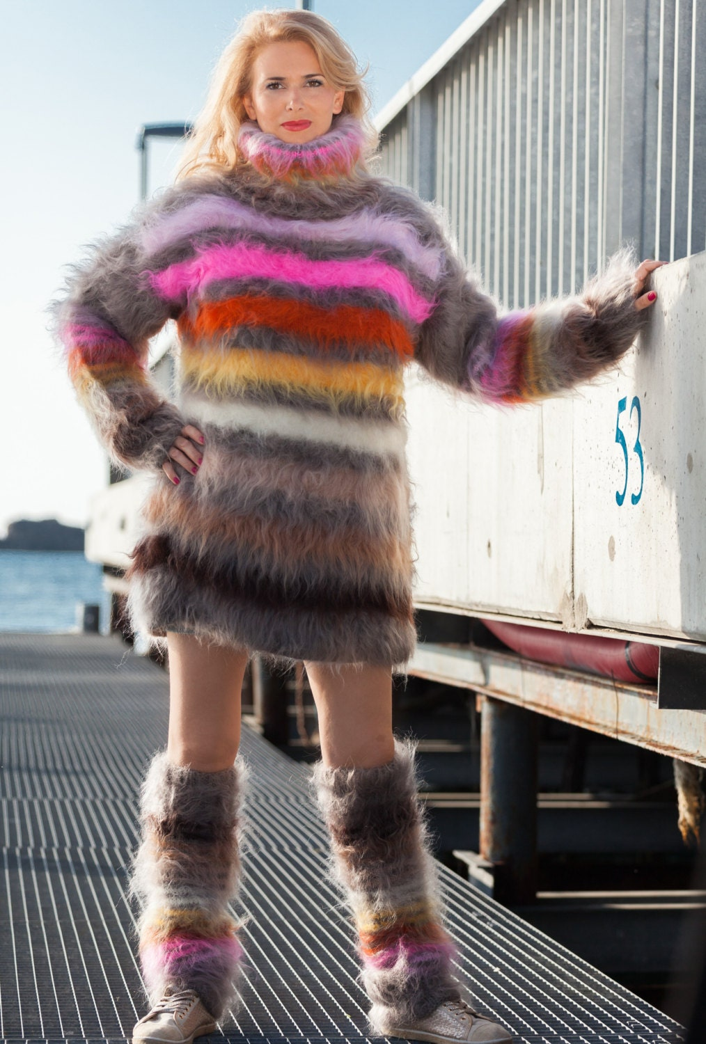 Fuzzy Mohair Sweater Turtleneck Mohair Dress Striped Sweater