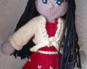 Handmade doll holidays edition, handgestrickte Puppe, Weihnachtsgeschenk