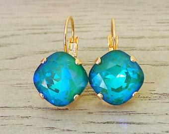 Ultra Emerald Dangle Earrings - Swarovski Crystal - Blue Green Earrings - Dangle Earrings - Ultra Emerald AB - Gifts for her - Swarovski