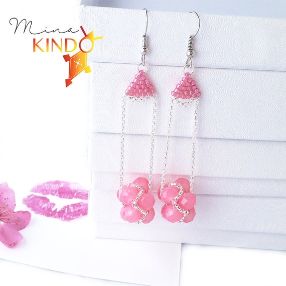 African earrings elegance pink, African jewelry, beaded earrings, simple earrings, handmade jewelry, modern earrings, tribal jewelry