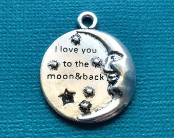 2 Moon Charms Silver I love you to the moon and back charm - CS2401
