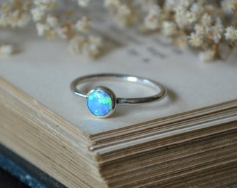 Blue Opal Ring 925 - Stacking Ring - Inspiration & Creativity - Multicolour Fire Opal - October Birthstone