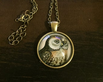 Owl Glass Pendent necklace