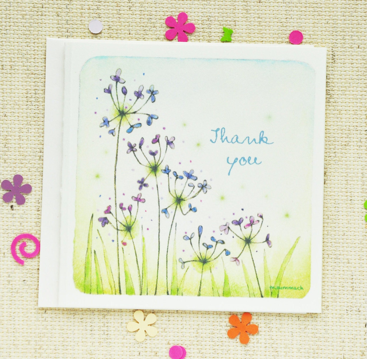 whimsical thank you thank you card whimsical thank you card feminine note card floral note card sweet and simple note card appreciation note card