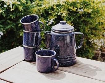 Vintage Enamel Coffee Pot Set/ Blue and White Speckled/ Enamel Camping Set