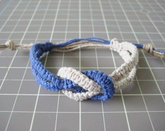 Infinity Hemp Bracelet - Cobalt Blue & White - Natural and Adjustable