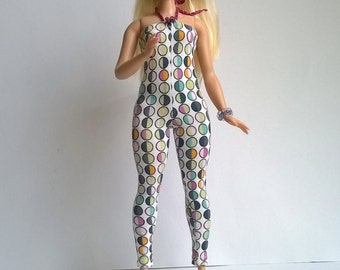 Curvy Barbie jumpsuit with colored circles on a white background