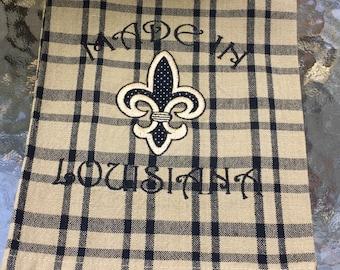 Kitchen Towel, Louisiana Decor, Dish Towel, Kitchen Decor, Cajun, Made in Louisiana, Hostess Gift, Fleur de lis, Black and White Decor, Home